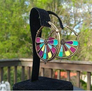 Antiqued Brass Enameled Abstract Boho Hoop Earring